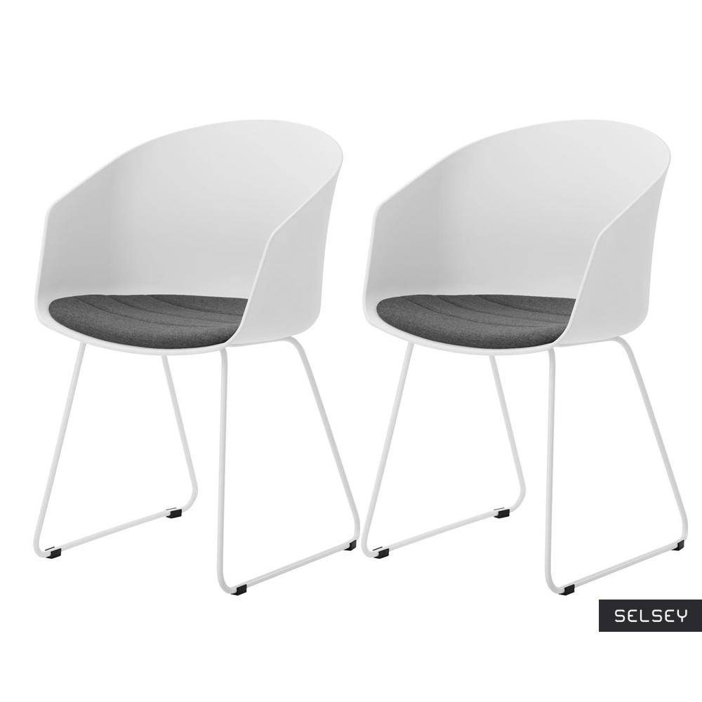 Zestaw dwóch krzeseł Tamarillo białe na stalowych płozach