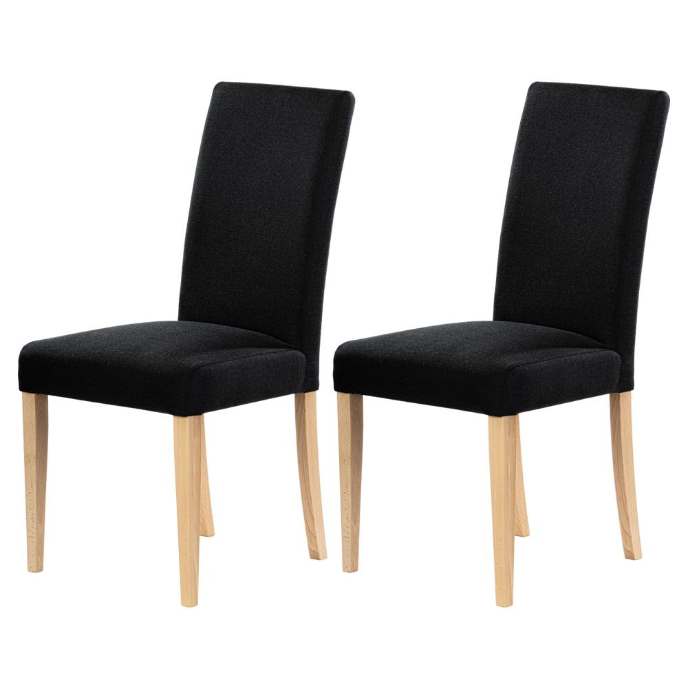 Zestaw dwóch krzeseł tapicerowanych Aterin czarne na bukowej podstawie