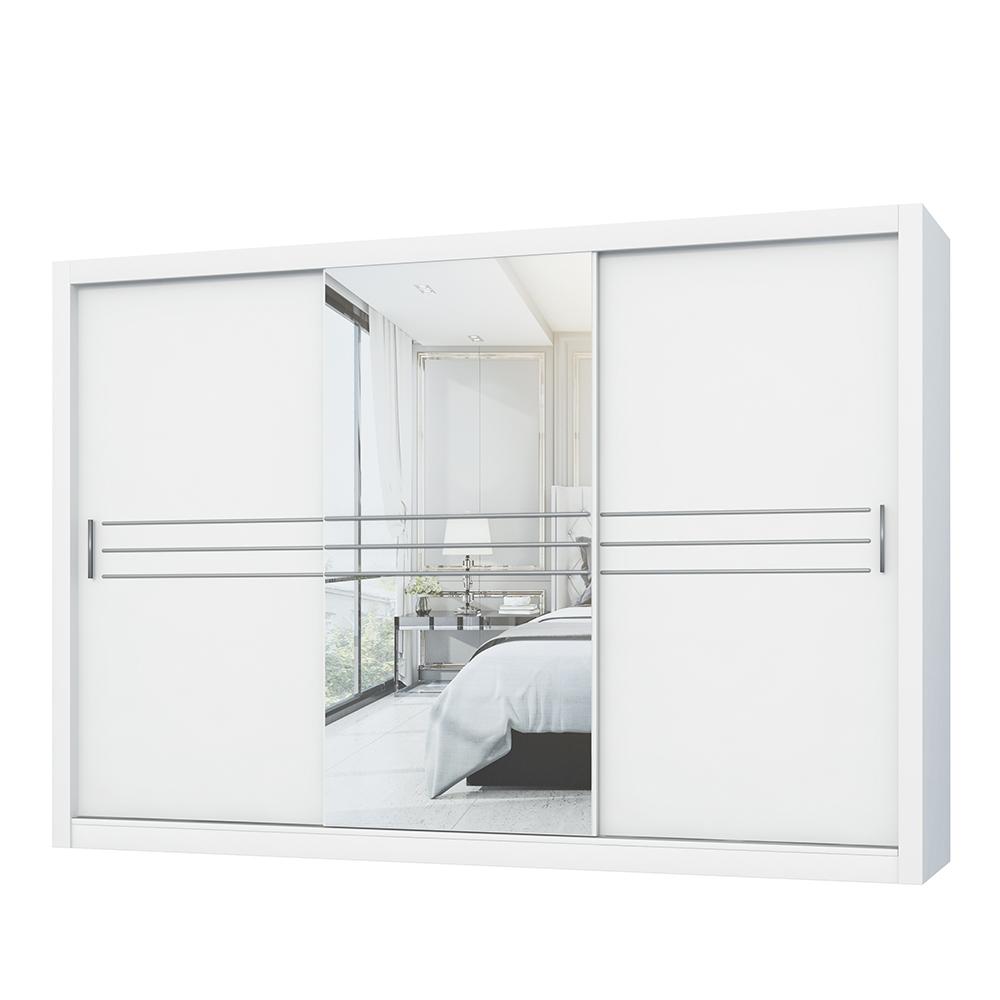 Szafa Londre 250 cm biała z podłużnym lustrem pośrodku