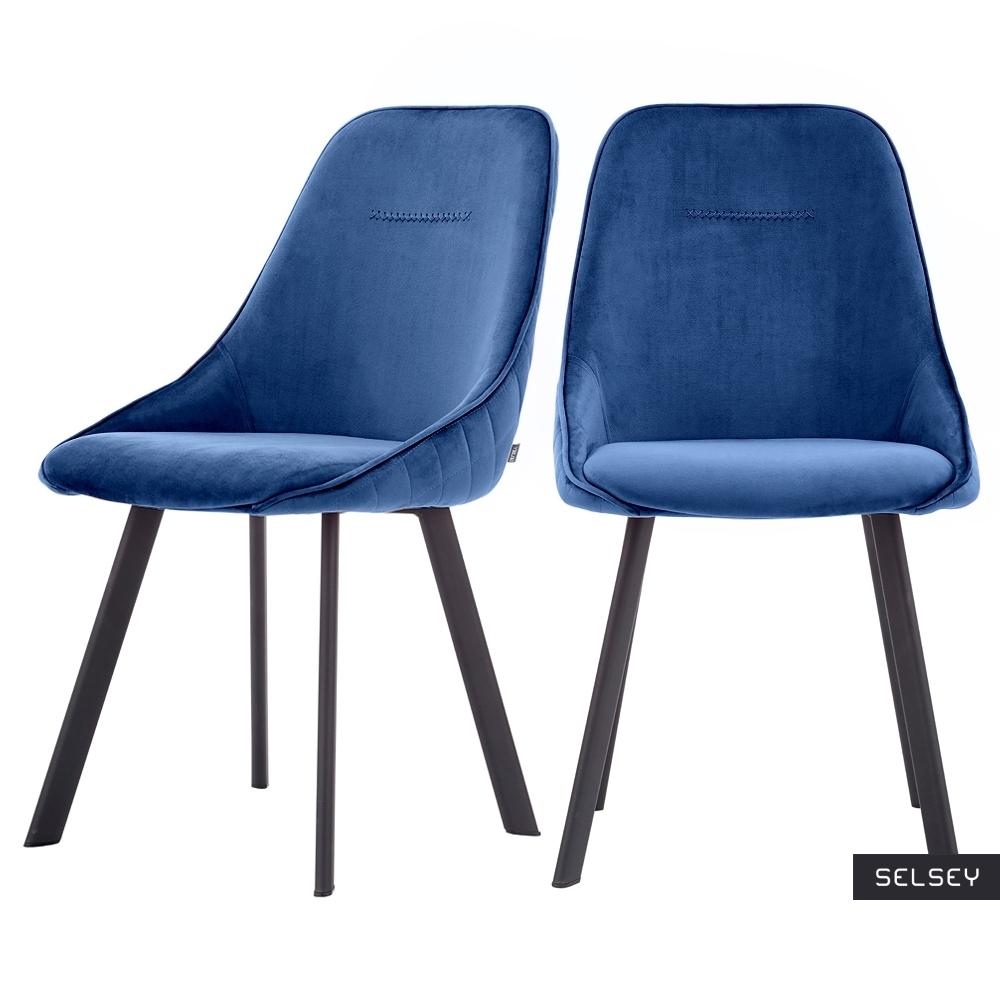 Zestaw dwóch krzeseł tapicerowanych Jonas niebieskie pikowane