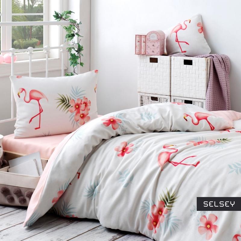 Komplet pościeli Flamingo 160x220 cm z poszewką na poduszkę 50x70 cm i z prześcieradłem kremowy