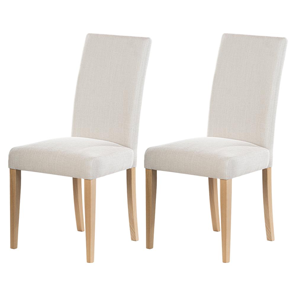 Zestaw dwóch krzeseł tapicerowanych Aterin beżowe w tkaninie łatwoczyszczącej na bukowej podstawie