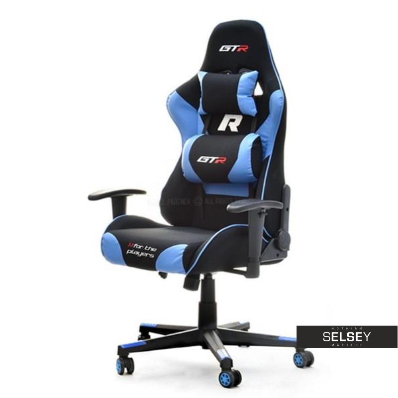 Fotel Gamingowy Racer GTR czarny - turkus z poduszkami