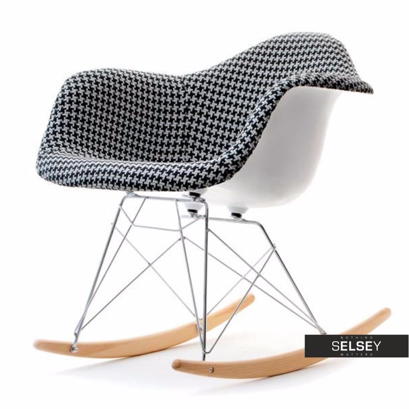 Fotel bujany MPA ROC tap pepitka designerski bujak z podłokietnikami