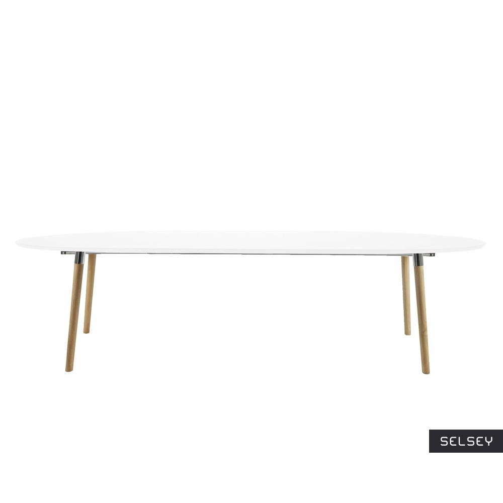 Stół rozkładany Vuka 170-270x100 cm biały z drewnianą podstawą