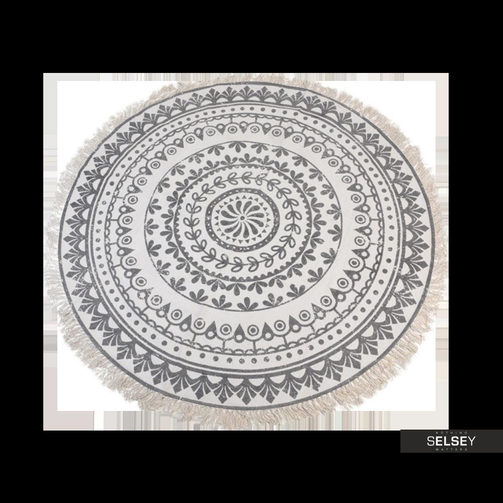 Dywan okrągły z frędzlami jasny wzór średnica 150 cm wzór 2