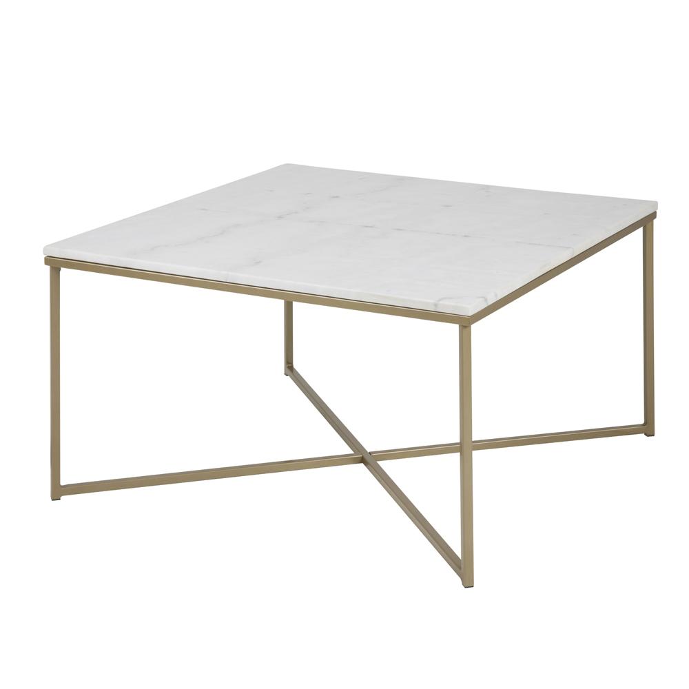 Stolik kawowy Bakar 80x80 cm z mosiężną podstawą i marmurowym blatem