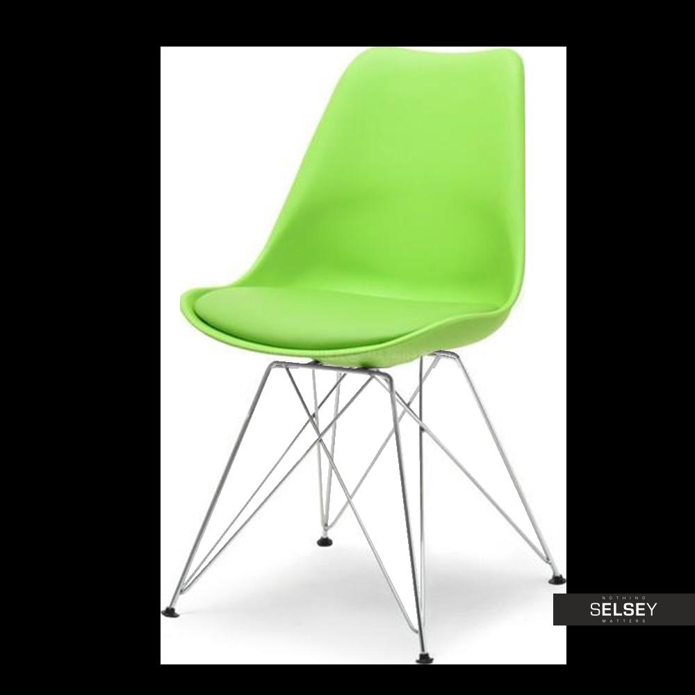 Krzesło Luis rod jasnozielone na chromowanej podstawie