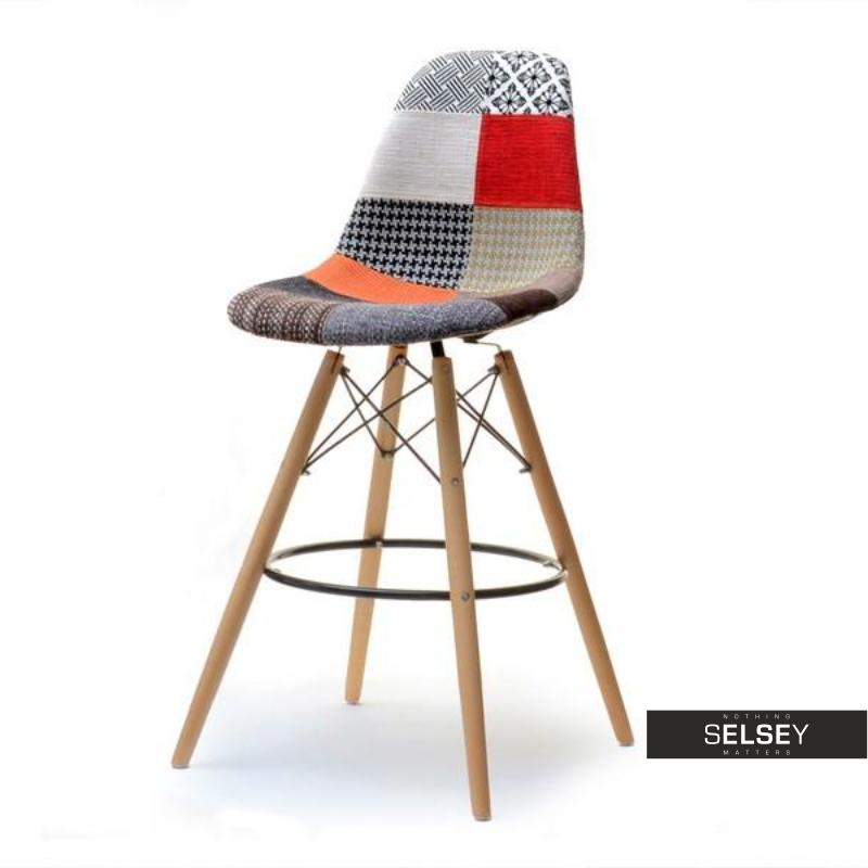 Hoker Adirale patchwork- buk na drewnianych nogach