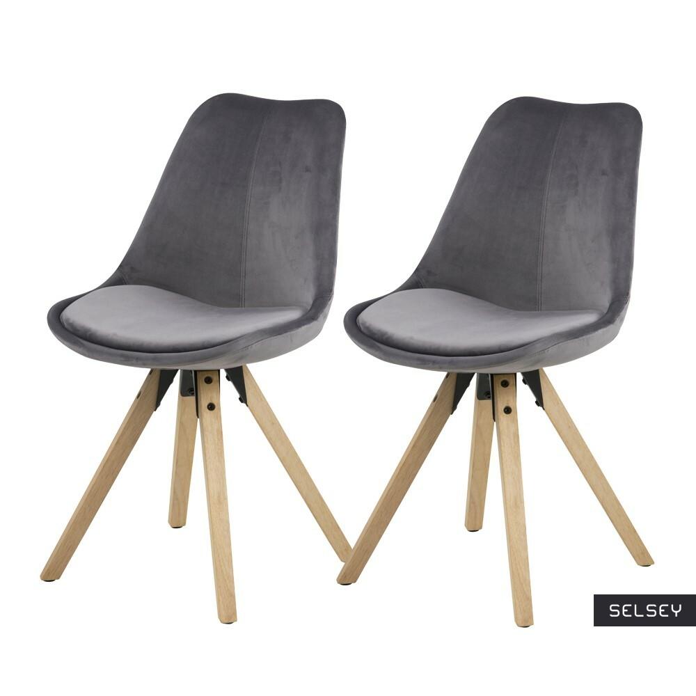 Zestaw dwóch krzeseł tapicerowanych Djum szaro - dębowe
