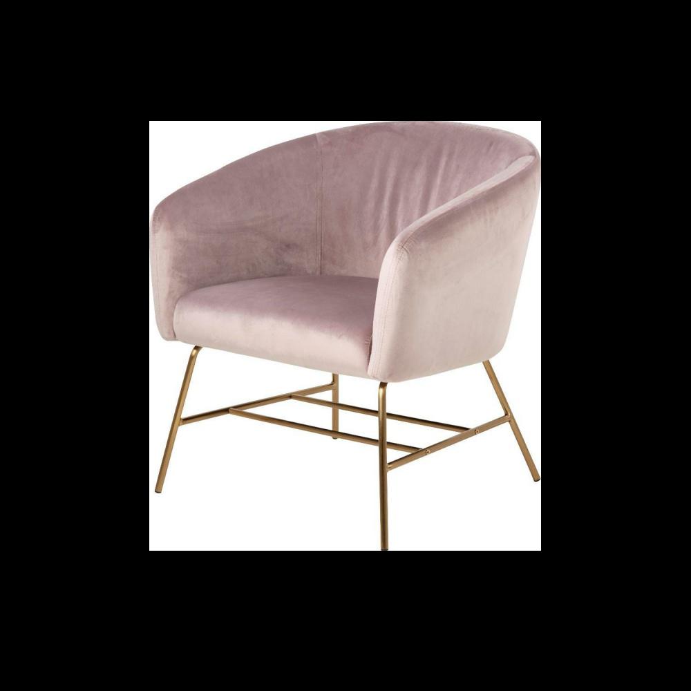 Fotel Ramsey pudrowy róż na złotych nogach