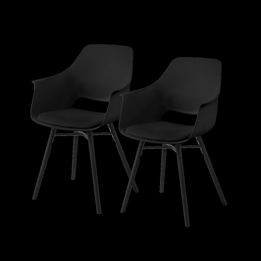 Zestaw dwóch krzeseł Berchez czarne z czarną podstawą