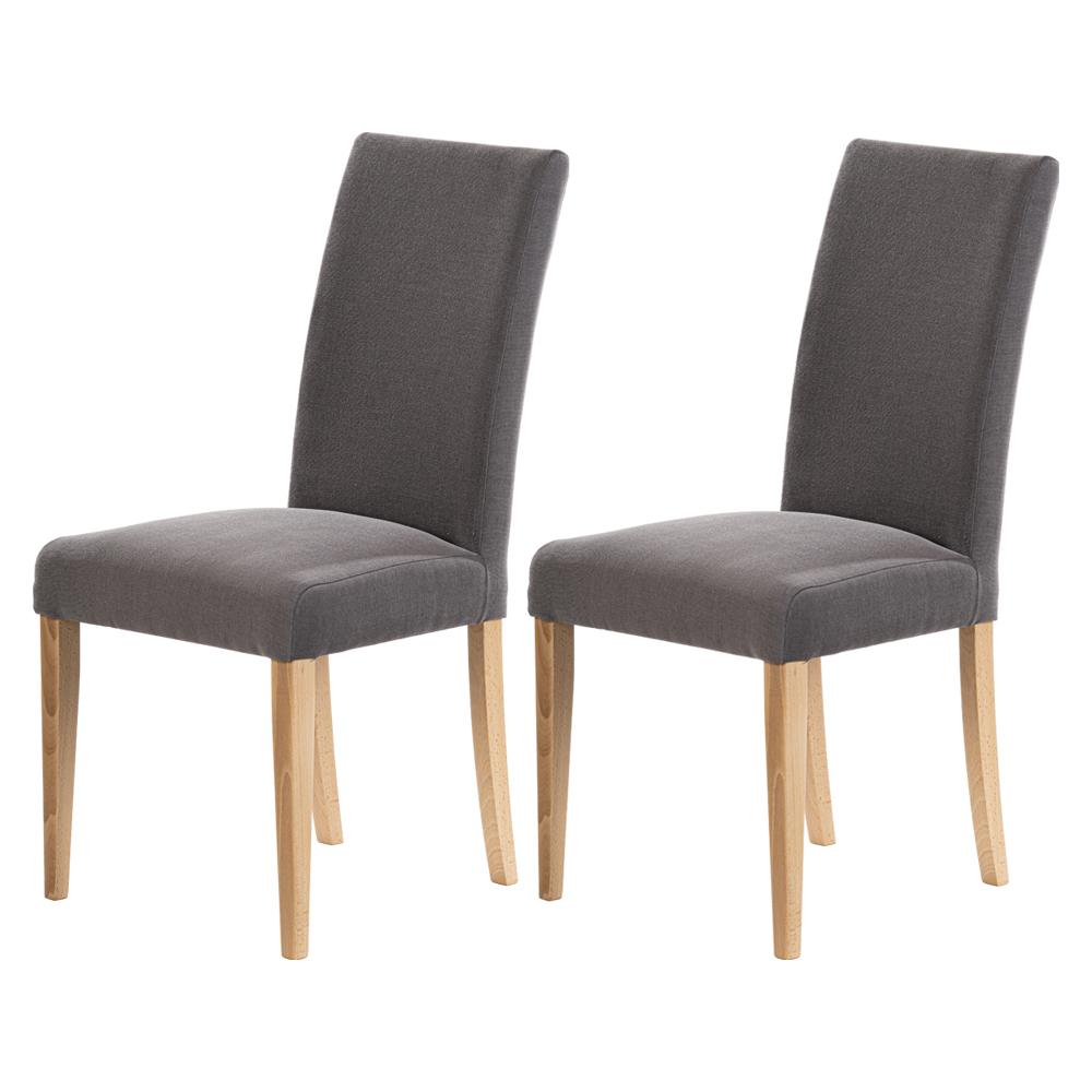 Zestaw dwóch krzeseł tapicerowanych Aterin ciemnoszare w tkaninie łatwoczyszczącej  na bukowej podstawie