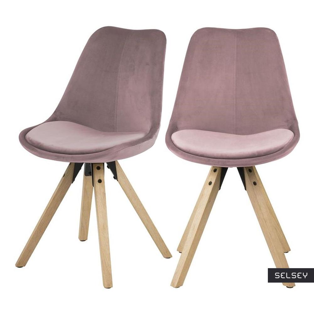 Zestaw dwóch krzeseł tapicerowanych Djum różowo - dębowe