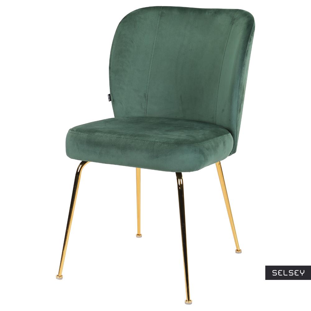 Krzesło tapicerowane Alruba zielone na złotych nogach