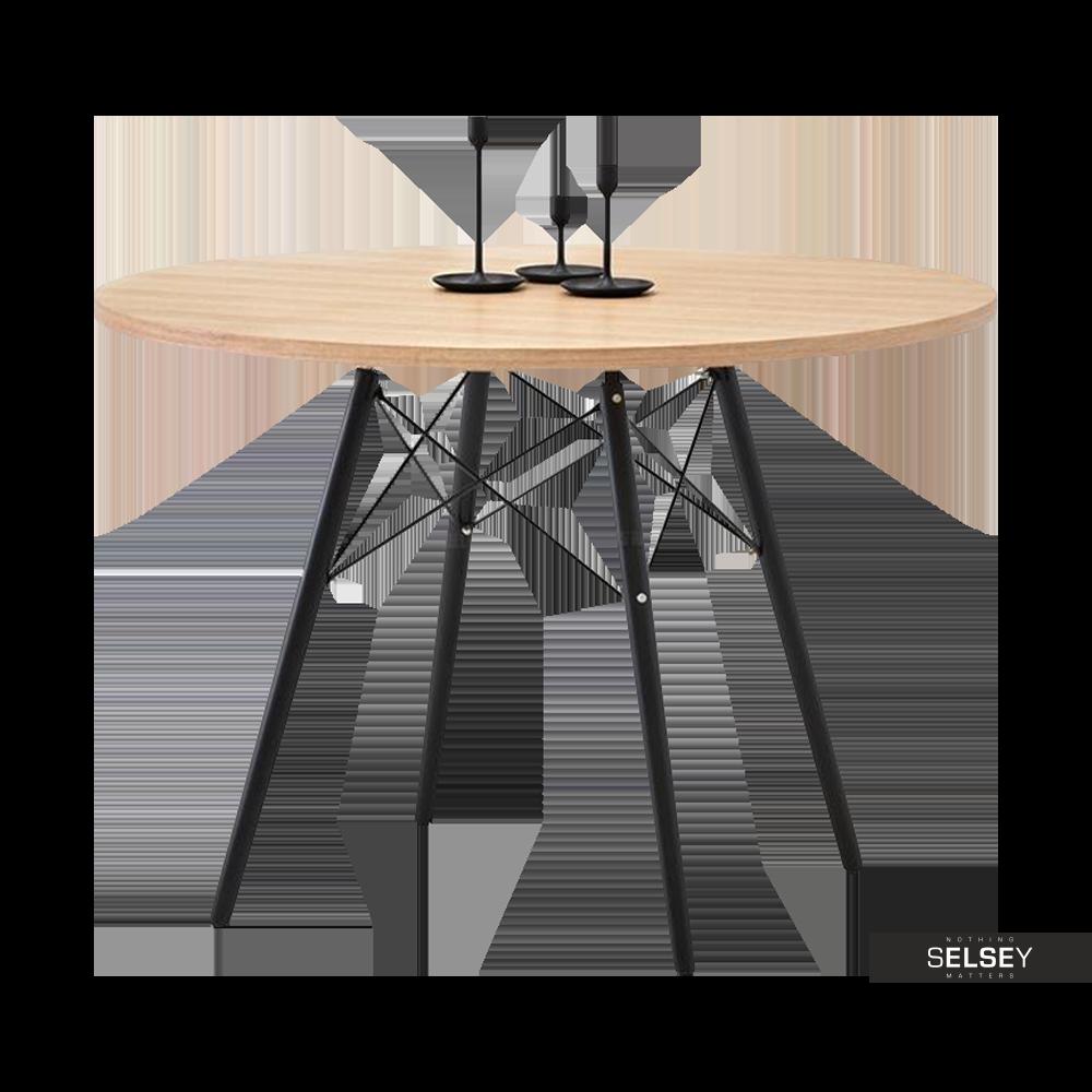 Stół Eames jesion-czarny średnica 100 cm