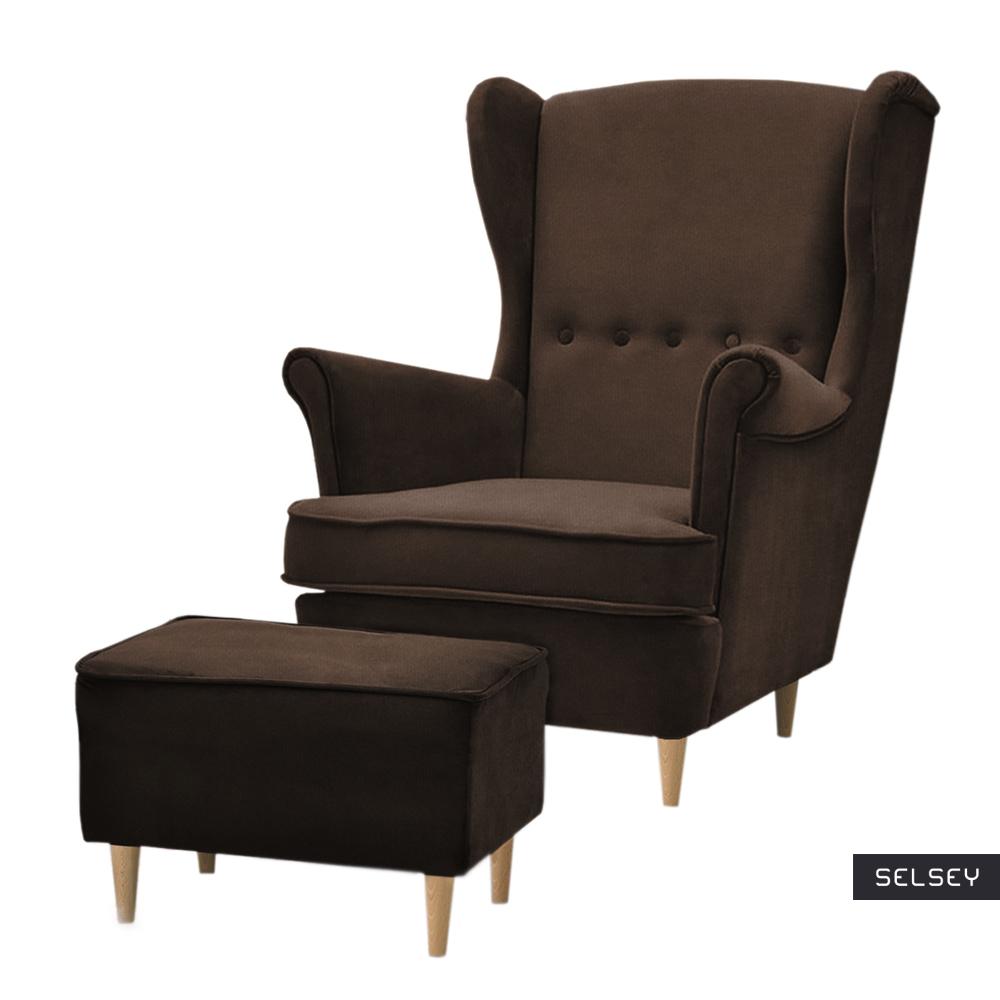 Fotel z podnóżkiem Malmo brązowy