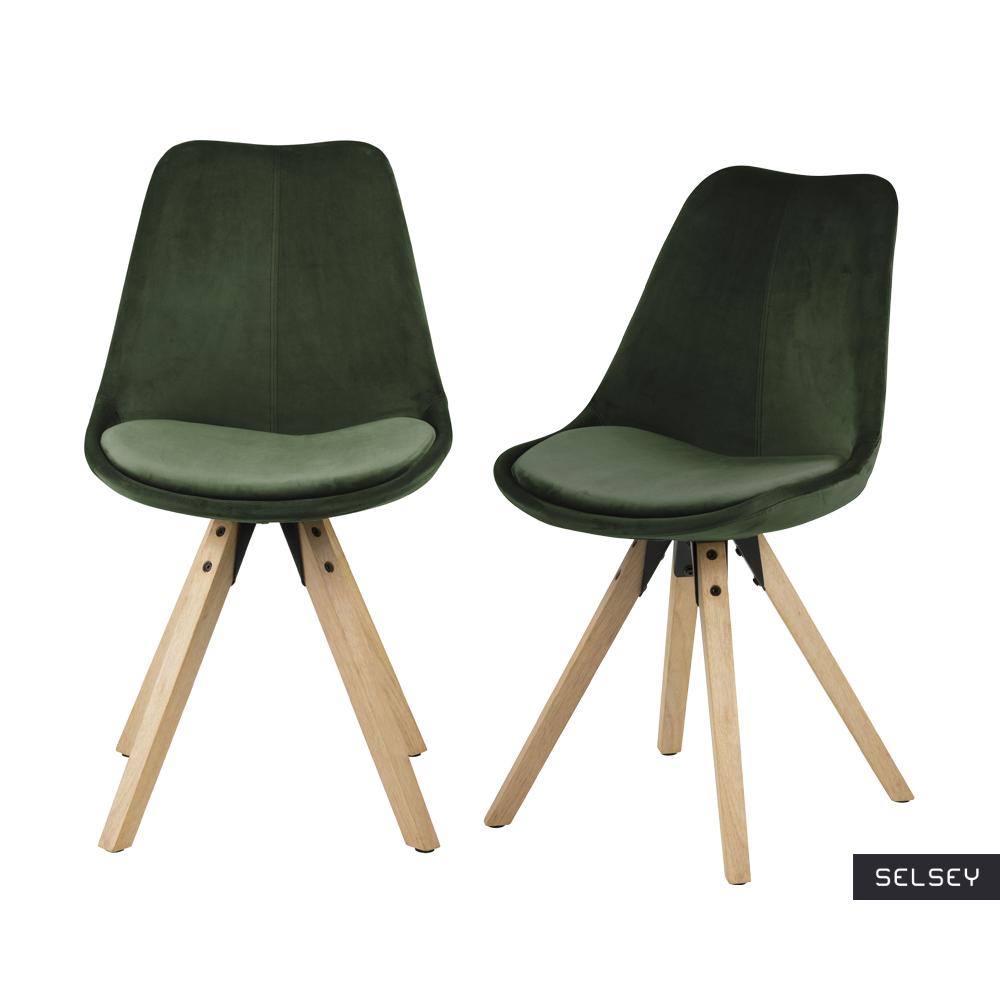 Zestaw dwóch krzeseł tapicerowanych Djum leśno - dębowe