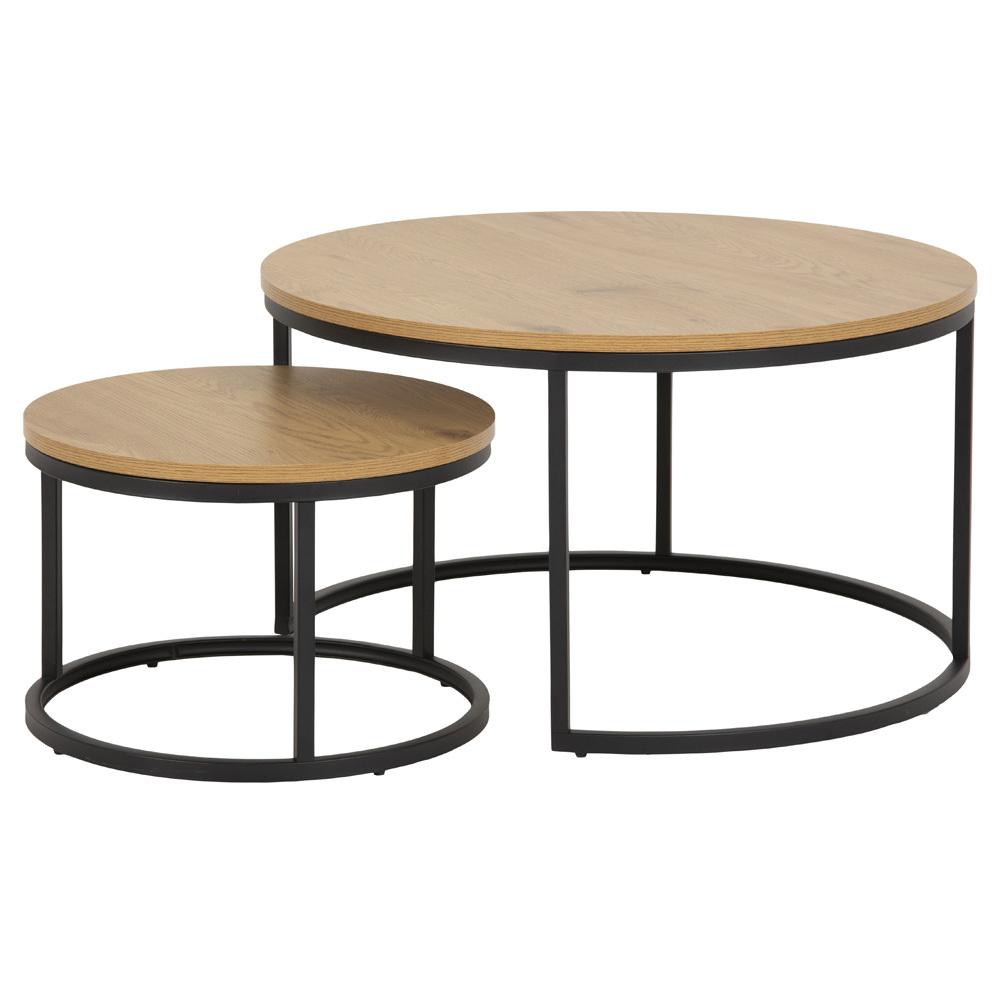 Zestaw dwóch stolików kawowych okrągłych Birgita dąb