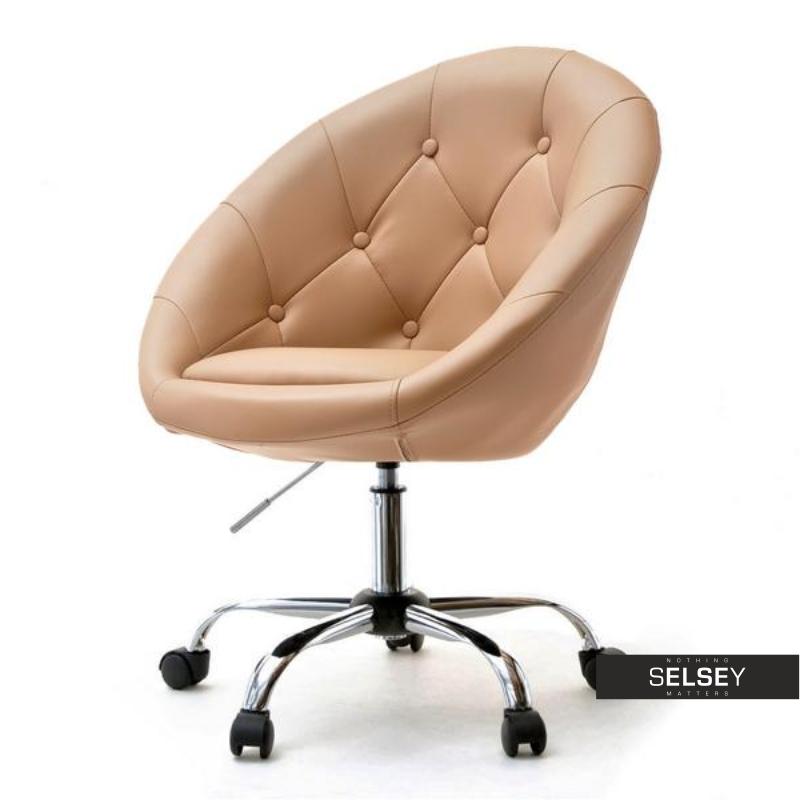 Fotel biurowy Lounge 4 karmelowy tapicerowany
