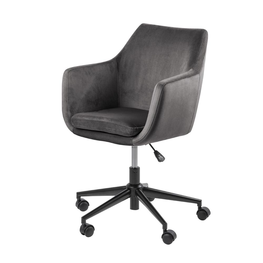 Fotel biurowy Marcelio ciemnoszary welur