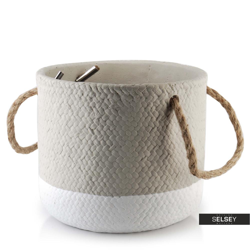 Doniczka Deserto o średnicy 18 cm szaro-biała