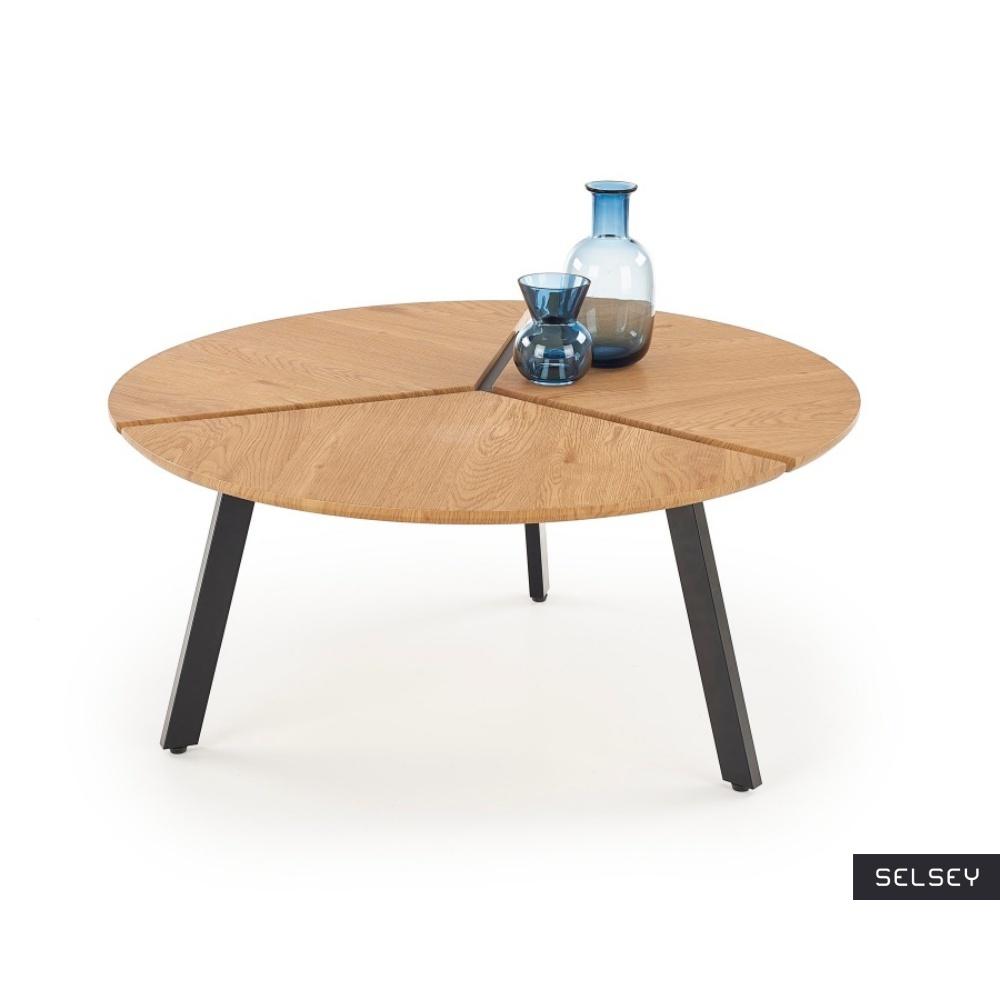 Stolik kawowy Lilu o średnicy 86 cm dąb złoty