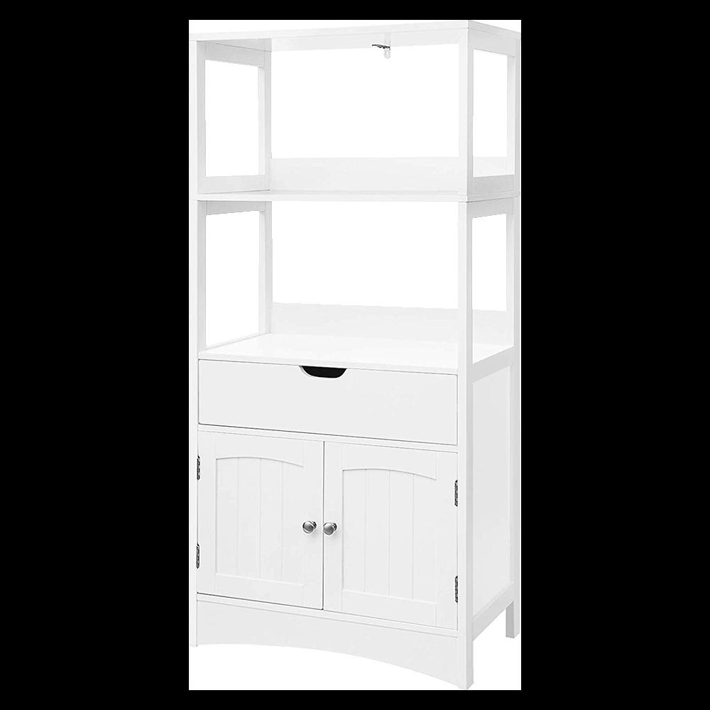 Regał łazienkowy Wlens rustykalny słupek z szufladą i szafką