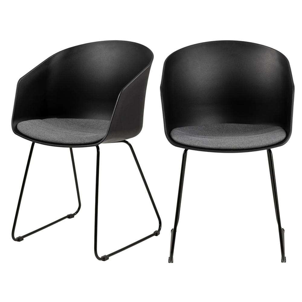 Zestaw dwóch krzeseł Tamarillo czarne na stalowych płozach