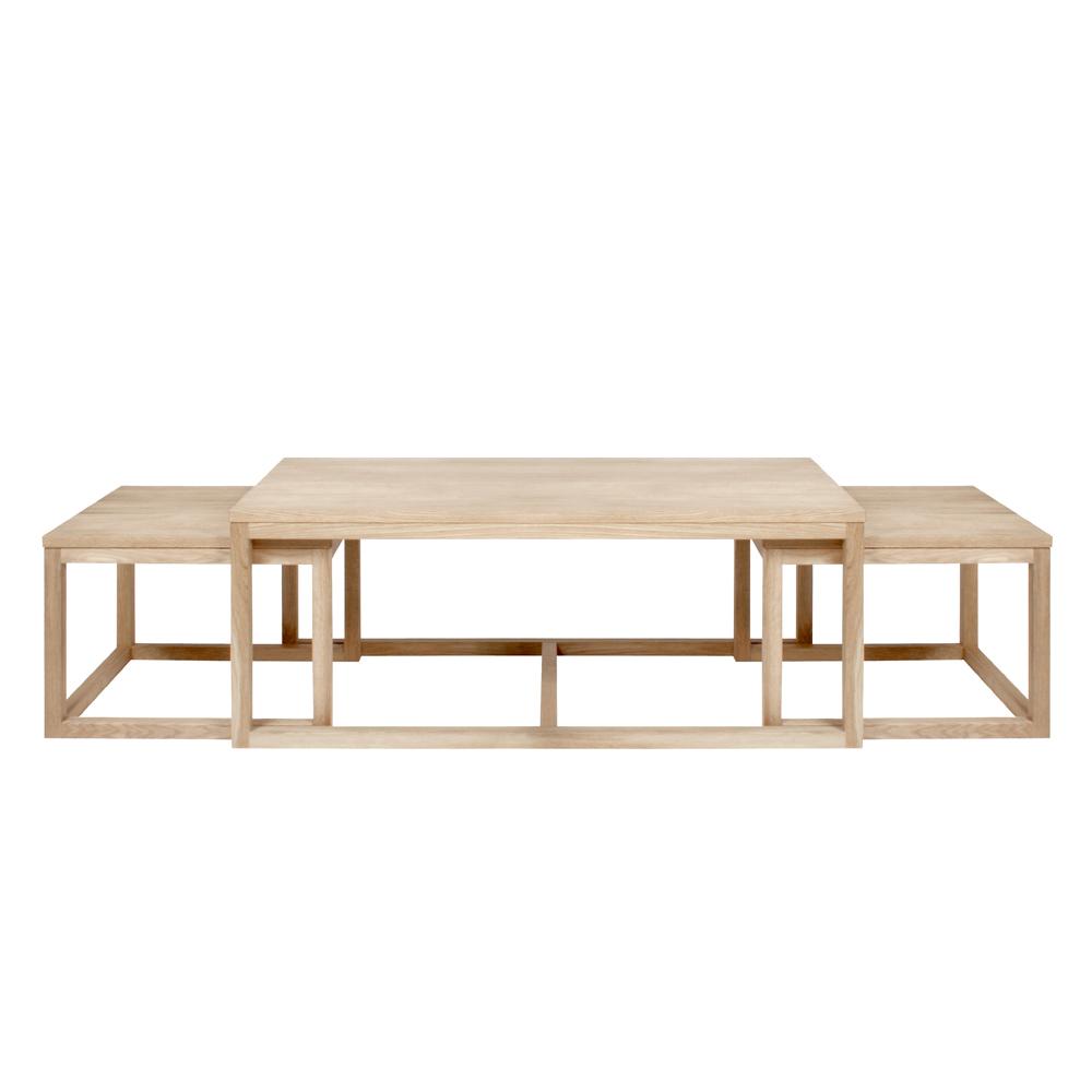 Zestaw trzech stolików kawowych Mojo 120x60 cm i 56x51,5 cm bielonych