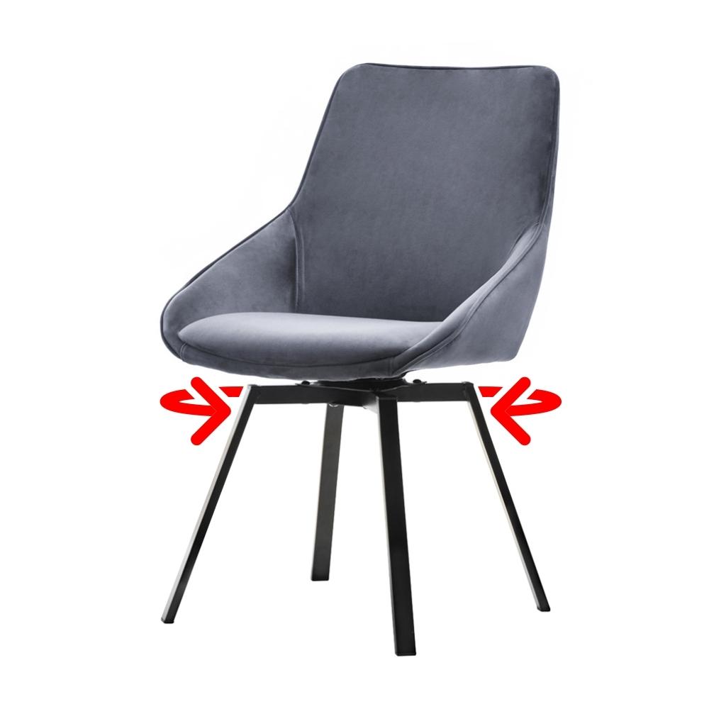 Krzesło tapicerowane Yanii z podłokietnikami szare na czarnej podstawie