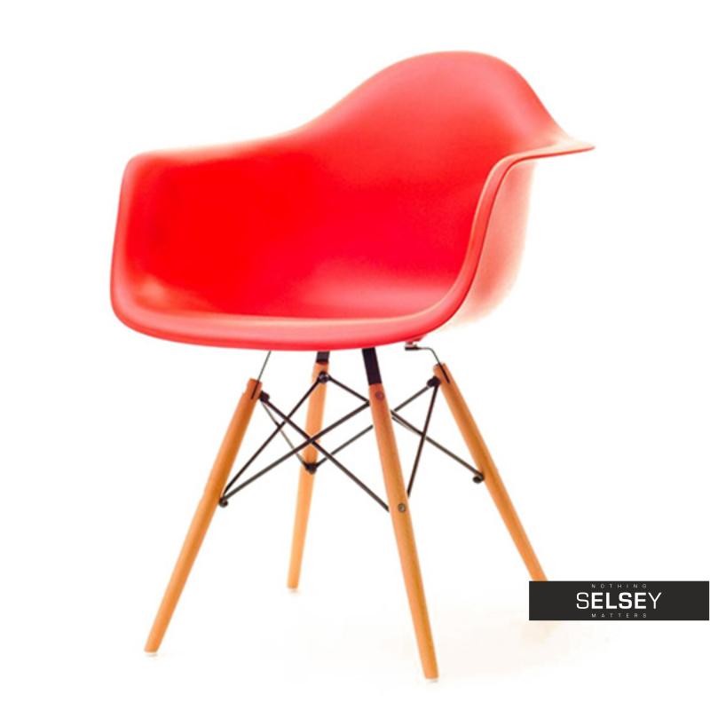 Krzesło MPA wood czerwone na drewnianych nogach