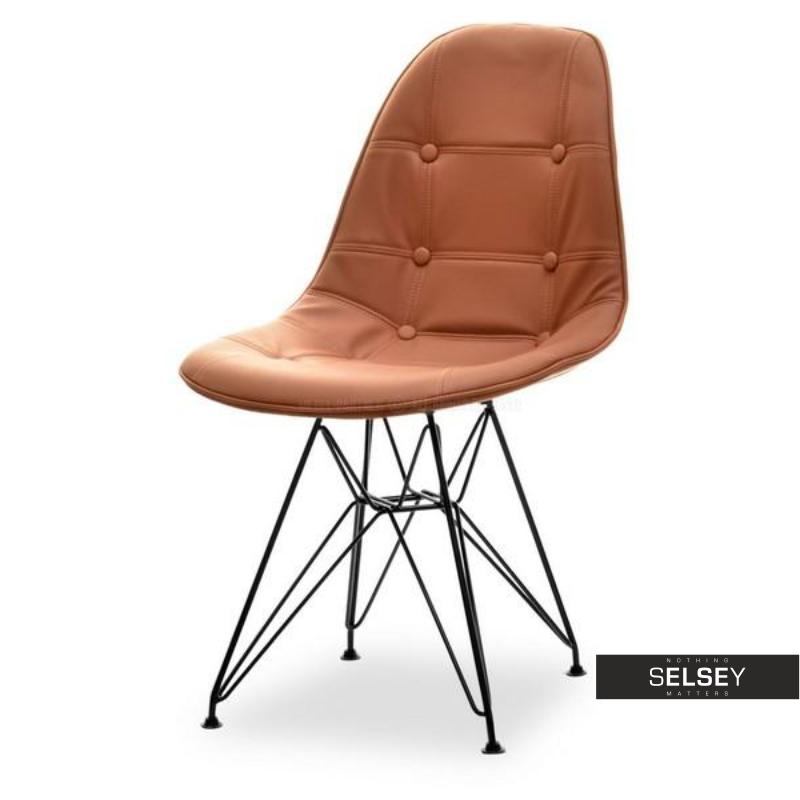 Krzesło MPC brązowo-czarne ze skóry ekologicznej