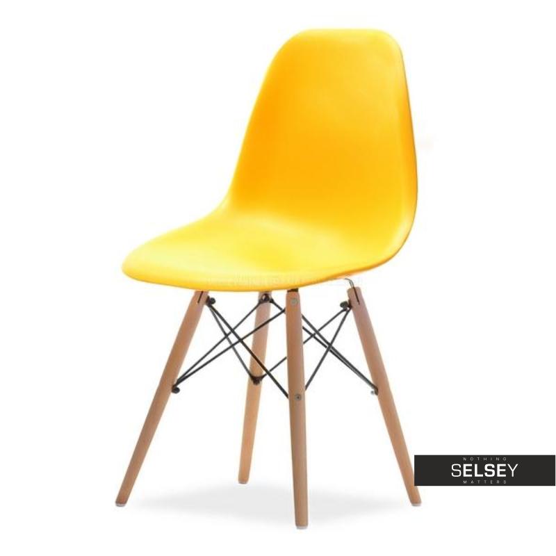 Krzesło MPC wood żółte na drewnianych nóżkach