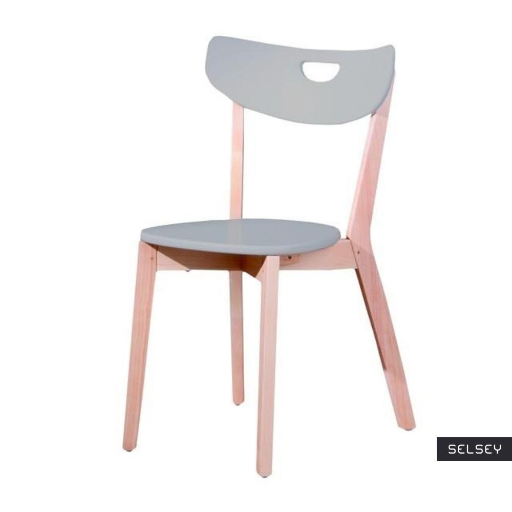 Krzesło Batino szare z wyprofilowanym oparciem
