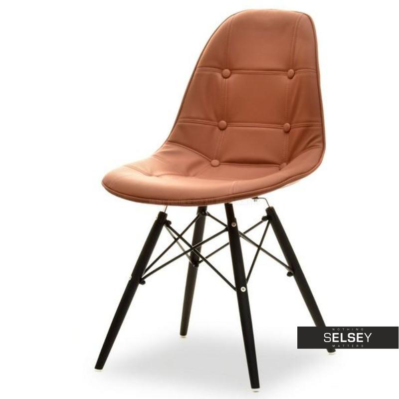 Krzesło MPC wood tap brązowo-czarne na drewnianej podstawie