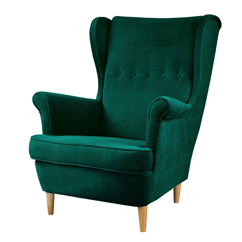 Fotel uszak Malmo zielony welur