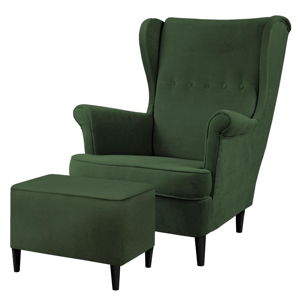 Fotel z podnóżkiem Malmo butelkowa zieleń w tkaninie Easy Clean