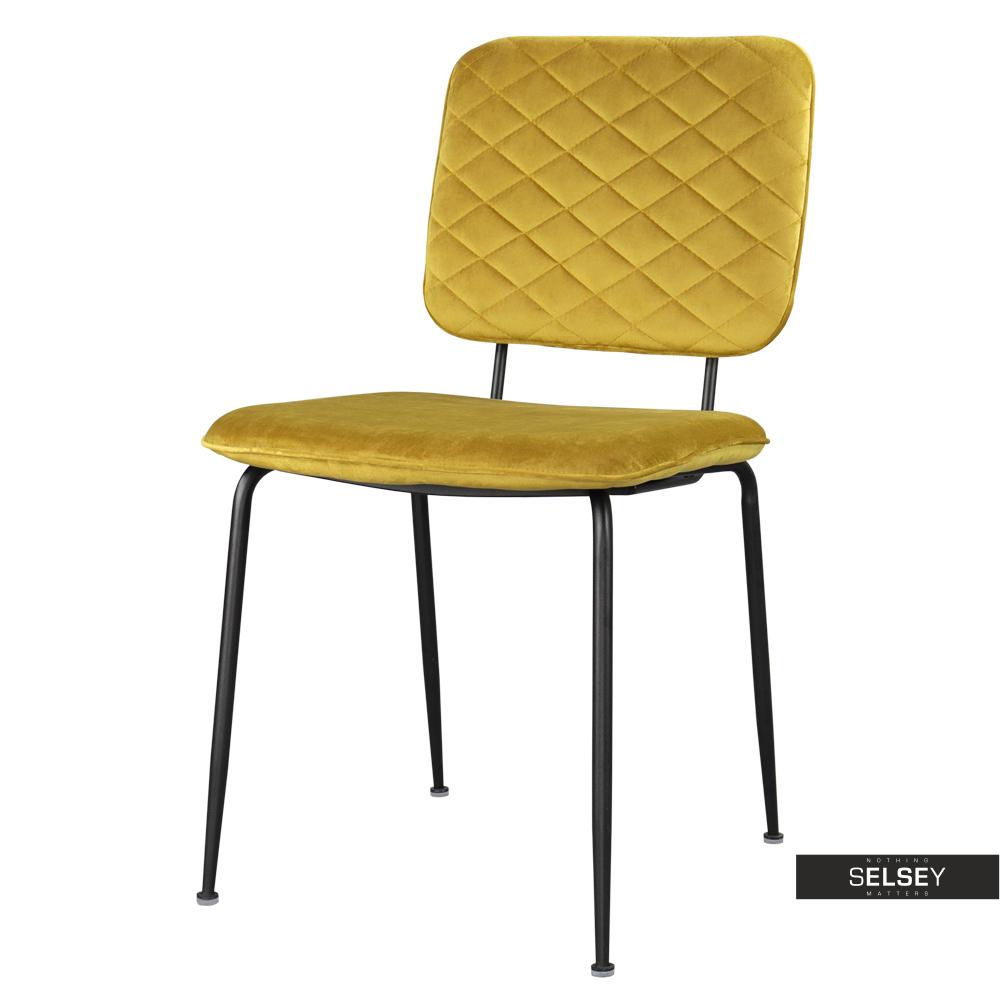 Krzesło Anthony złote na czarnych nogach ze stali