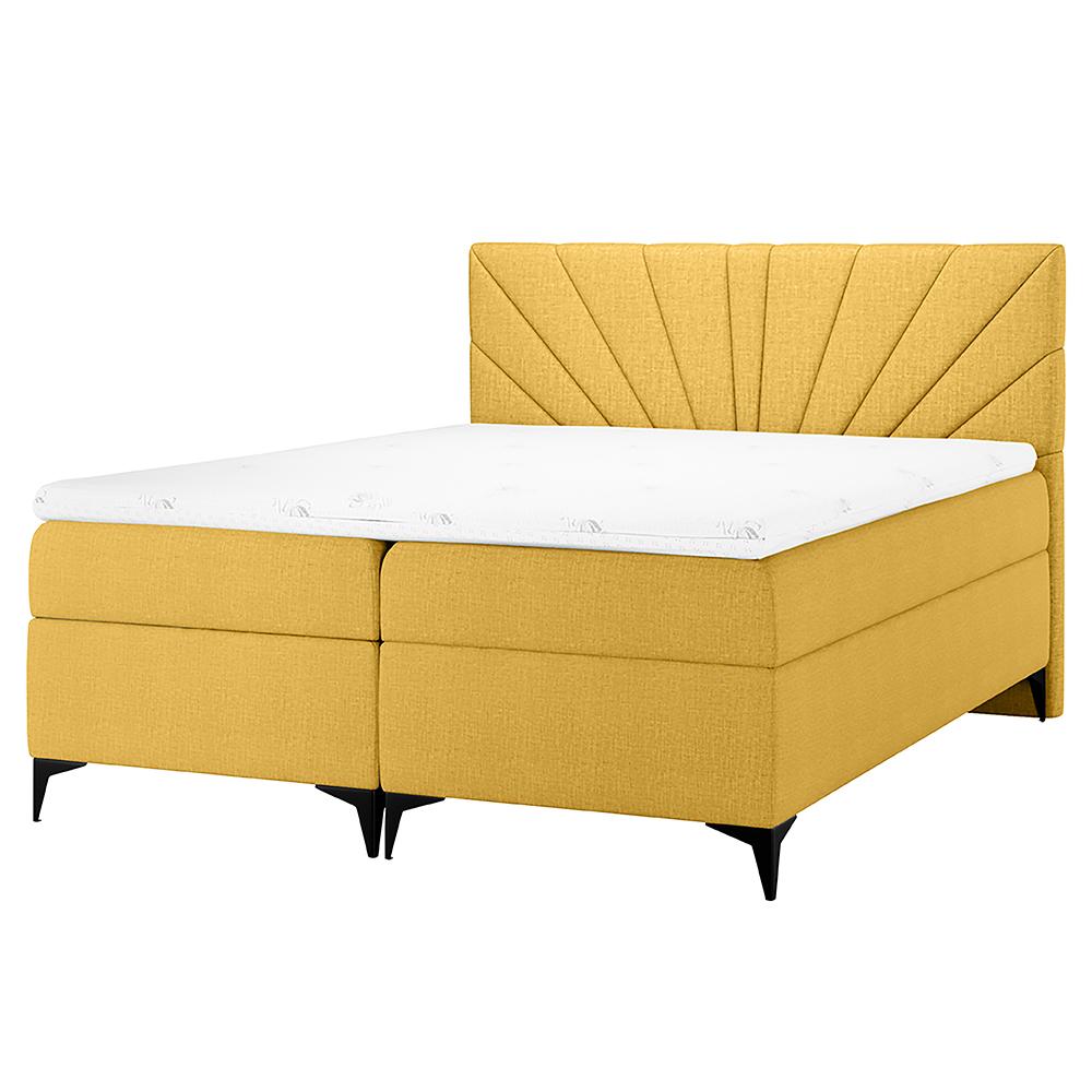 Łóżko kontynentalne Tomene z pojemnikiem na pościel w tkaninie hydrofobowej
