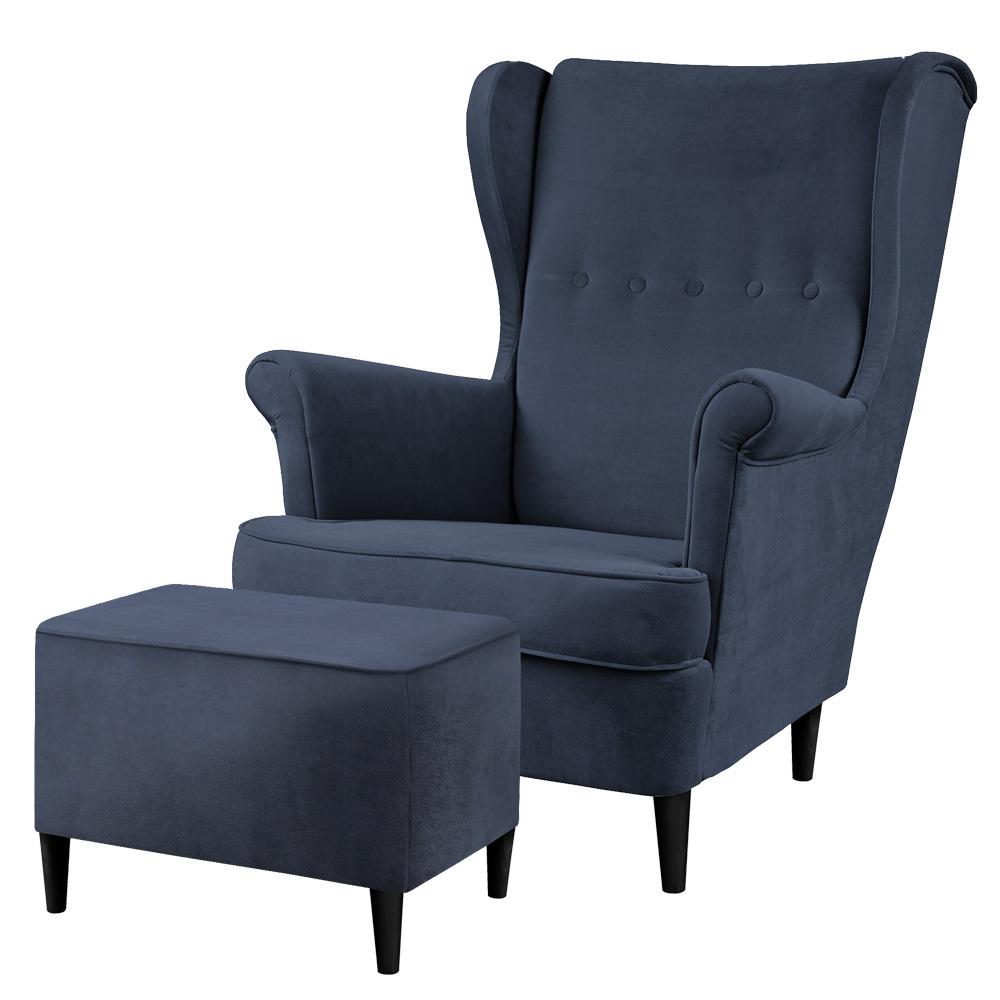 Fotel z podnóżkiem Malmo granatowy w tkaninie hydrofobowej