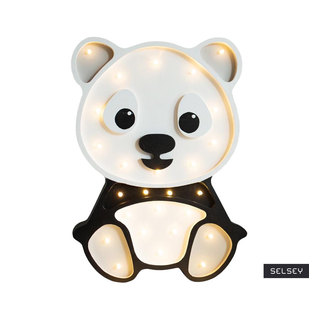 Lampa dziecięca w kształcie pandy szara ręcznie wykonana