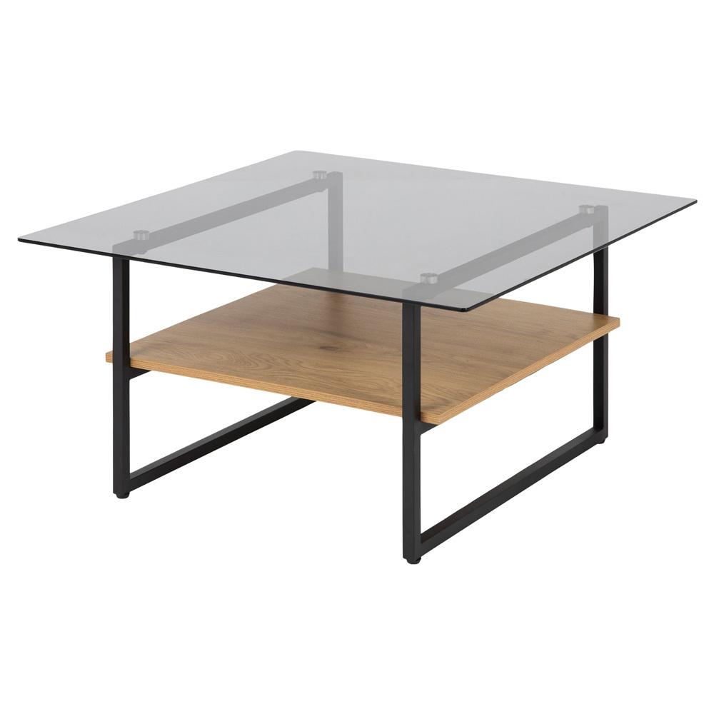 Stolik kawowy kwadratowy Hideko 80x80 cm z półką dąb