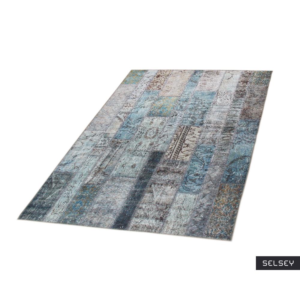 Chodnik Patchworkowa Flora z odcieniami turkusu 75x300 cm
