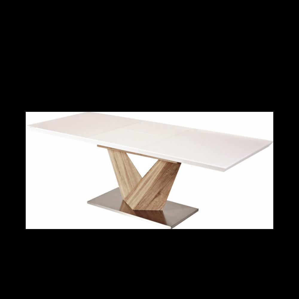 Stół rozkładany Aramoko 160-220x90 cm sonoma - biały