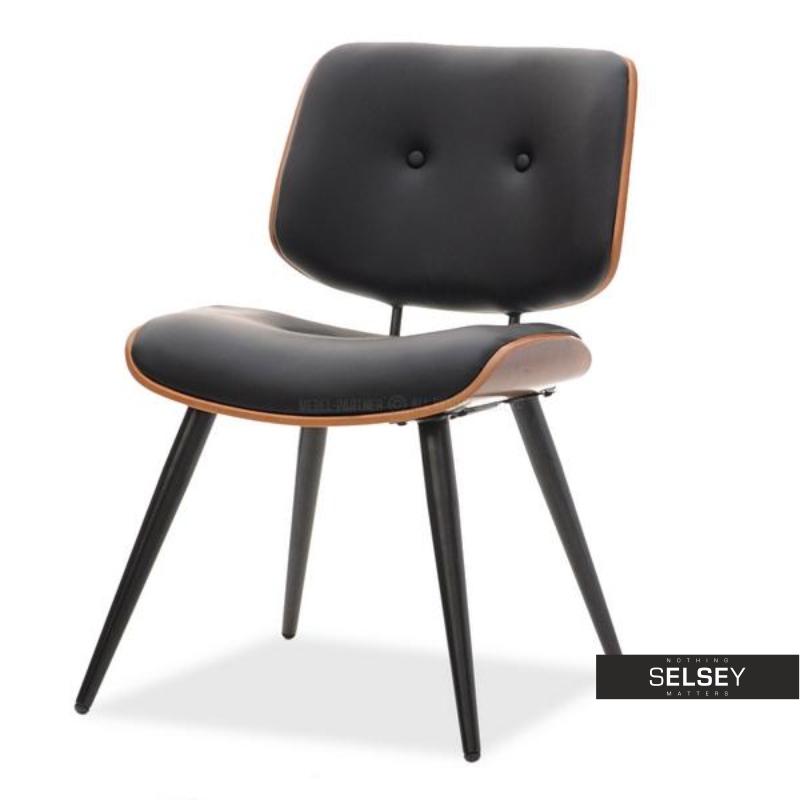 Krzesło Gizmo orzech czarne z guzikami
