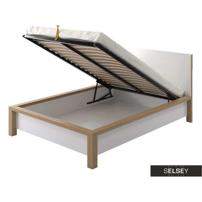 Łóżko drewniane Benin z pojemnikiem na pościel