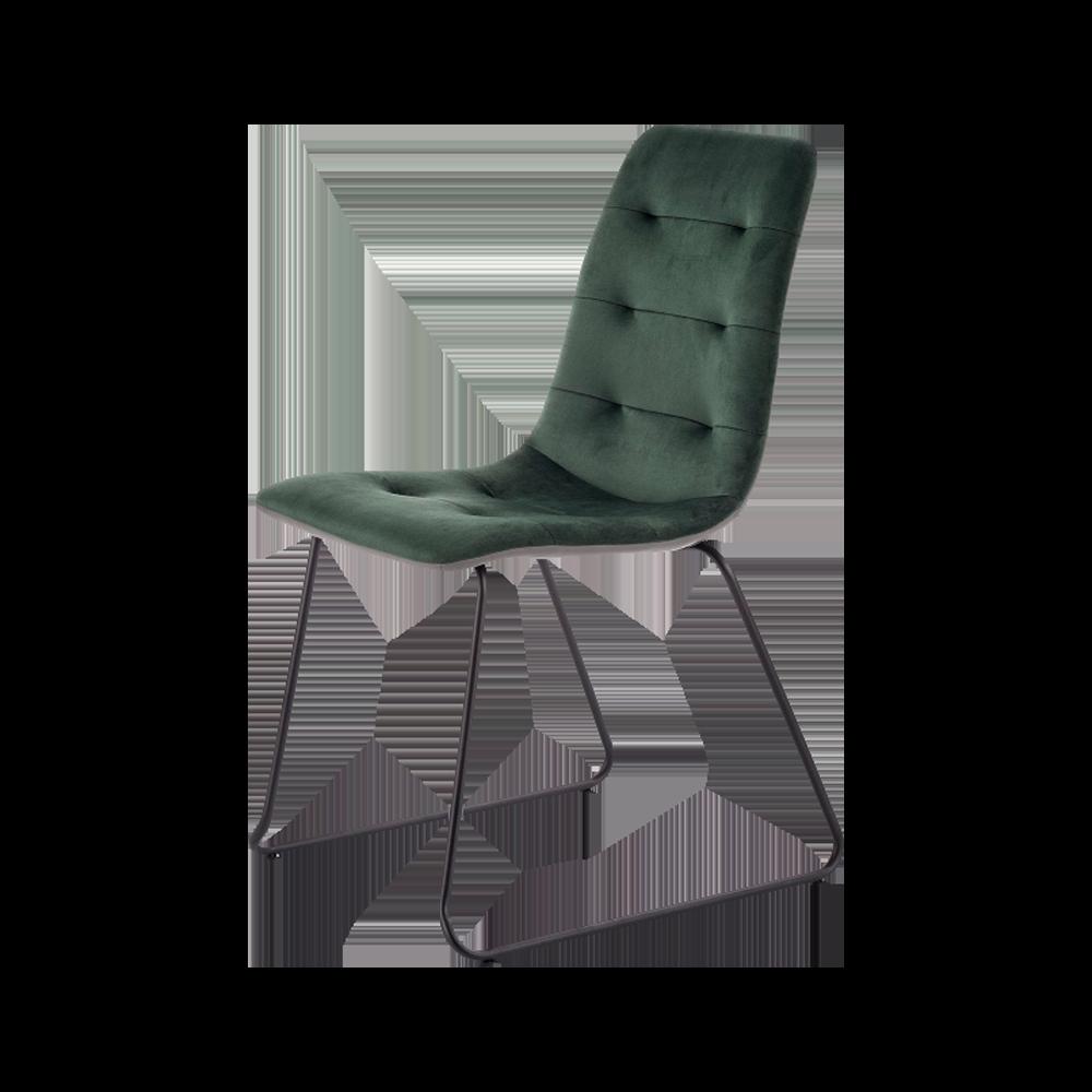 Krzesło Levi zielone tapicerowanie