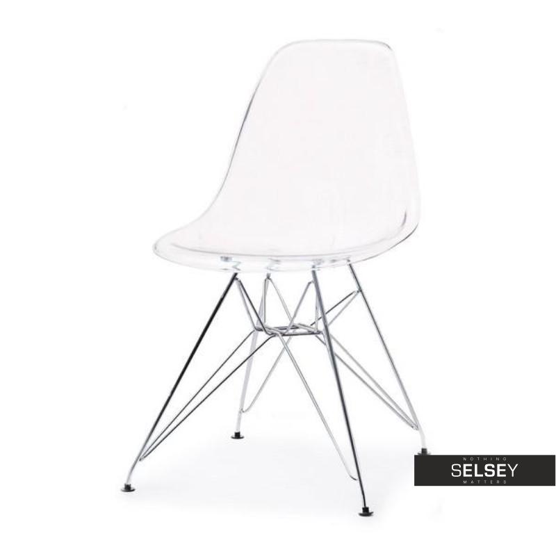 Krzesło MPC rod transparentne na chromowanych nóżkach
