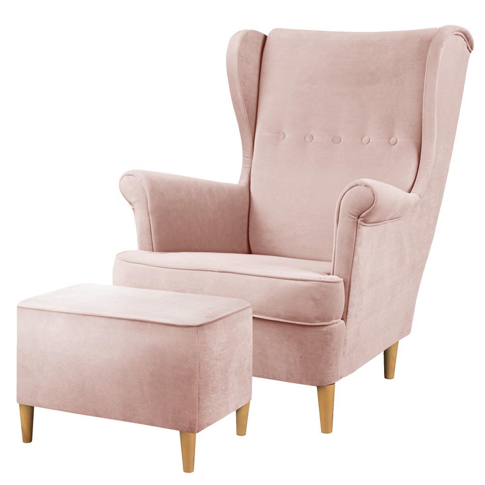 Fotel z podnóżkiem Malmo różowy w tkaninie hydrofobowej